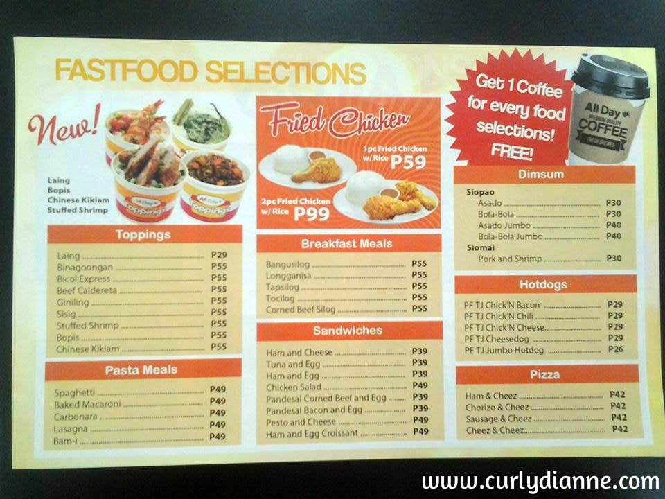 Great fastfood selections at an affordable price.